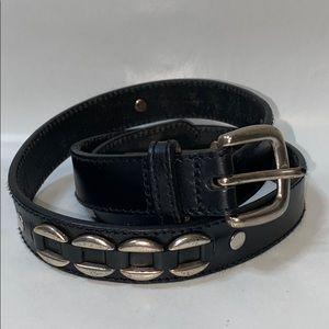 Fossil Black leather silver hardware belt
